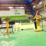 At the gym, Pastor Luis Padilla