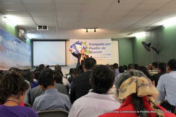 Pastor Luis Ramos preaching during our Leadership Conference in Puebla