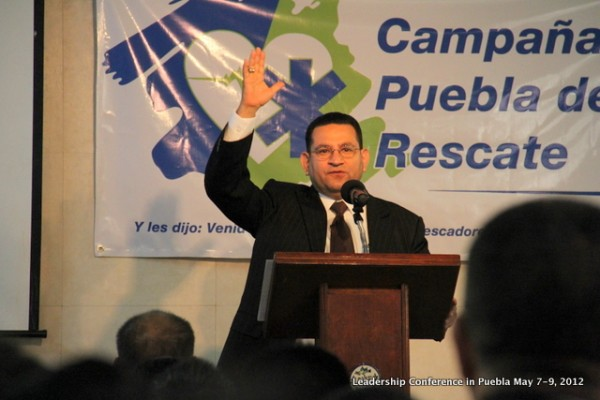 Pastor Luis Parada preaching during our Leadership Conference in Puebla