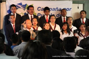 Leading a song during our Leadership Conference in Puebla