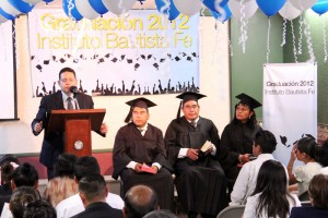 Pastor Miguel Reyes Blancas preaching during our graduation ceremony