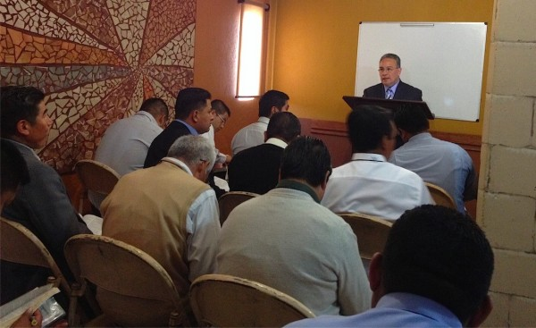 Pastor Ezquiel Salazar teaching on Leadership to the Pastors
